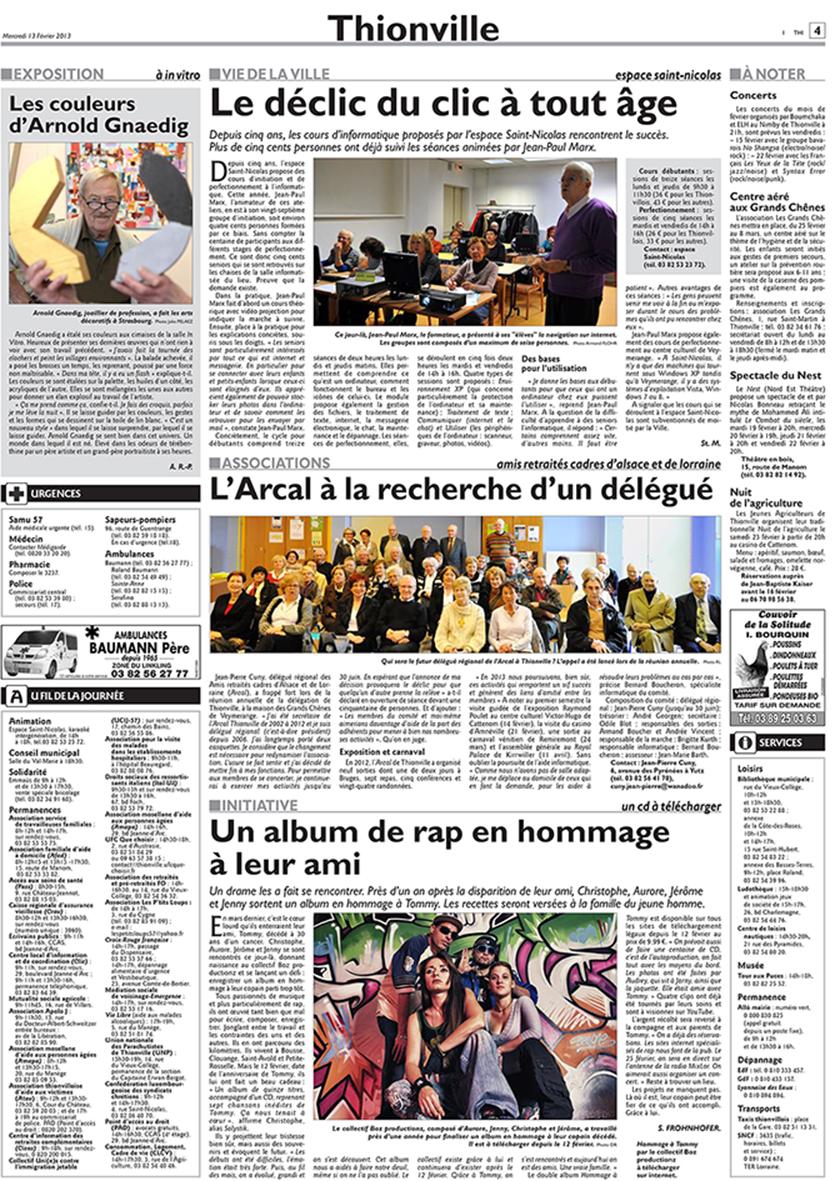 LE COLLECTIF BOZ PRODUCTIONZ publié dans LE REPUBLICAIN LORRAIN